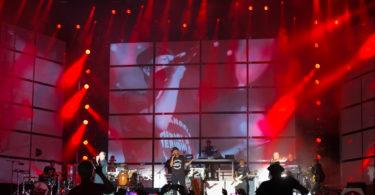 Videoprojektion beim Auftritt der Fantastischen Vier auf dem Taubertal Festival